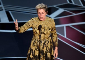 """Frances McDormand at Oscar 2018 called out the industry for """"inclusive riders"""". Photo Source: The New York Times"""